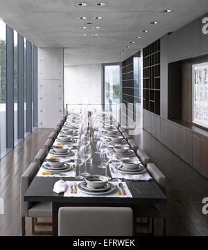 Hotel Monterrey, Monterrey, Mexique. Architecte: Tadao Ando, 2013. Salle à manger formelle. Banque D'Images