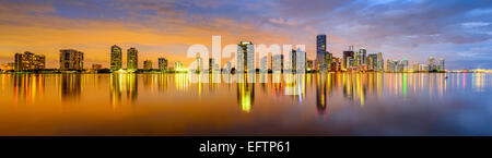 Miami, Floride, USA city skyline panorama. Banque D'Images