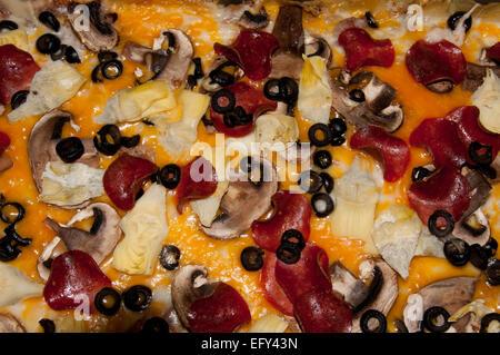 Pizza au pepperoni, close-up Banque D'Images