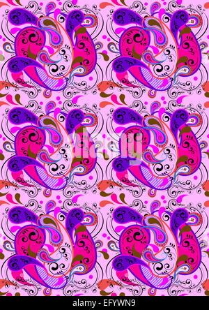 Seamless background rose pourpre, et en cramoisi, avec des motifs paisley