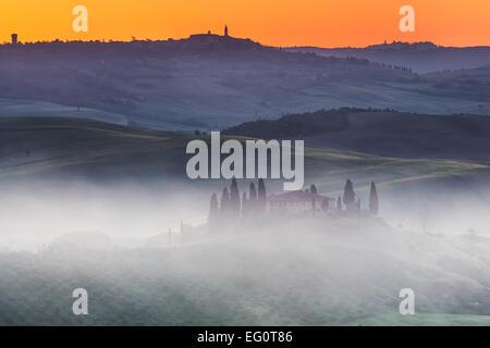 Lever du soleil Tuscany Banque D'Images