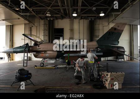 Le s.. Jacob Lee et d'un membre de la 1re classe Lawrence Croby, 354e Escadron de maintenance charge d'armes de l'équipage, réparer les systèmes d'armes sur un F-16C Fighting Falcon à Eielson Air Force Base, en Alaska, le 4 août 2014. La 354e mission AMS fournit-prêt à l'appui de l'aile des avions F-16 de la mission de l'agresseur que comprend la station d'accueil, de l'exercice Red Flag Alaska-agresseur et road shows. Le s.. Stephany Richards