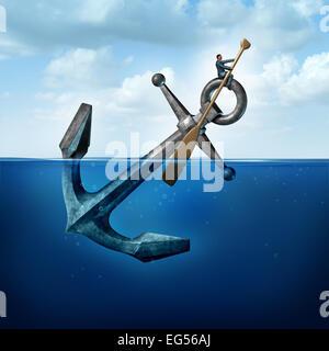 La pensée positive et la résilience concept d'affaires avec une personne sur une ancre flottante avec une pagaie Banque D'Images