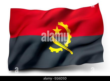 Waving Flag de l'Angola isolé sur fond blanc Banque D'Images
