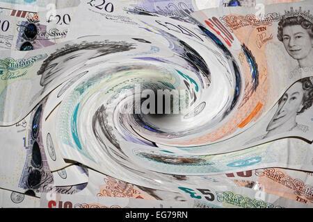 Argent aspiré dans un tourbillon, trou noir, l'économie d'échapper à tout contrôle Banque D'Images