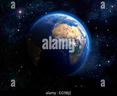 Face de la Terre. Vue imaginaire de la planète terre dans l'espace. Éléments de cette image fournie par la NASA Banque D'Images