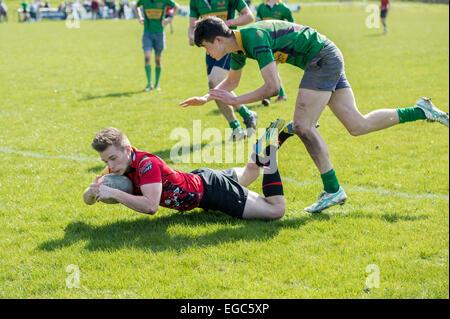 Rugby player essayez de notation. Banque D'Images