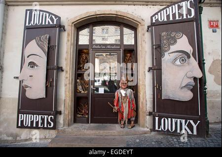 Boutique de marionnettes, dans la vieille ville de Prague, Prague, République Tchèque, Europe Banque D'Images
