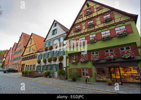Maisons anciennes dans le centre historique, Dinkelsbuehl, Franconia, Bavaria, Germany Banque D'Images