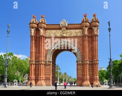 Arc de Triomphe, Arc de Triomphe, l'architecte Josep Vilaseca i Casanovas, Neo-Mudejar style, Barcelone, Catalogne, Banque D'Images