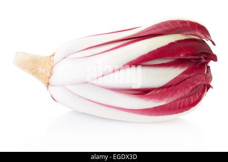 Chicorée de Trévise rouge radicchio, isolé sur blanc, chemin de détourage inclus Banque D'Images