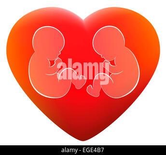 Deux jumeaux dans un cœur lumineux rouge. Banque D'Images