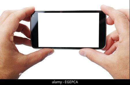 Prendre des photos avec un téléphone mobile.Les technologies les plus récentes. Deux clipping path Banque D'Images