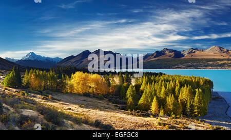 Le lac Pukaki et le Mont Cook, Nouvelle-Zélande Banque D'Images