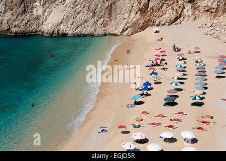 Plage de Kaputas, près de Kalkan, Lycie, Antalya Province, Côte Méditerranéenne, au sud-ouest de la Turquie, Turquie, Banque D'Images