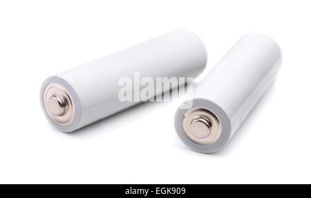 Paire de piles de taille AA isolated on white Banque D'Images