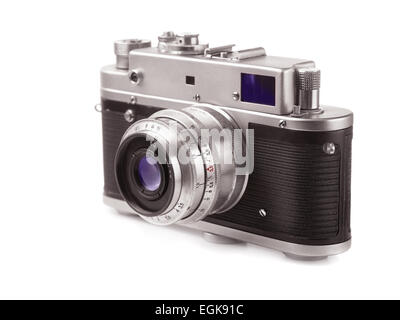 Vieux film camera isolated on white Banque D'Images
