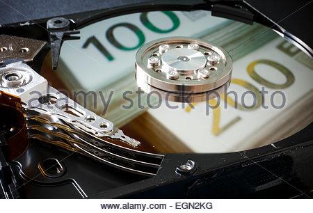 La réflexion des billets en disque dur, Berlin, Allemagne Banque D'Images