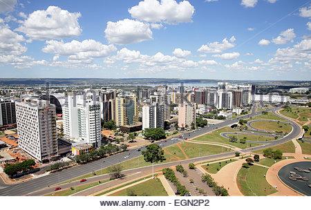 Vue de l'axe Monumental depuis la tour de télévision de Brasilia, Brésil Banque D'Images