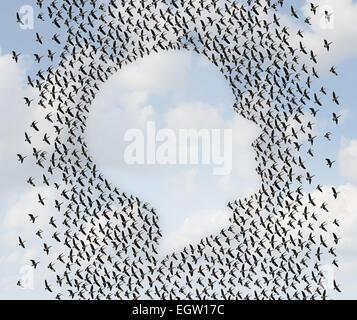 La liberté humaine et de l'émigration comme un groupe d'oies en vol organisé comme une nuée d'oiseaux en forme de Banque D'Images
