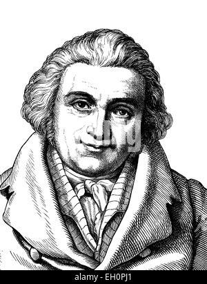 L'amélioration de l'image numérique de Johann Gottfried Eichhorn, 1752 - 1827, portrait, illustration historique, 1880