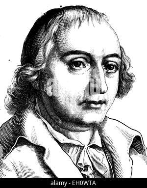 L'amélioration de l'image numérique de Johann Gottfried von Herder, 1744 - 1803, homme politique, portrait, illustration historique, 1880