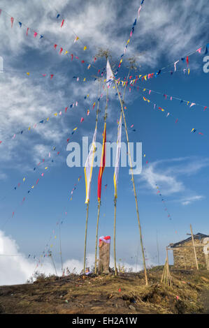 Les drapeaux de prières bouddhistes colorés dans Pathivara Devi, Népal Banque D'Images