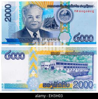 2000 Billet de kip, président Kaysone Phomvihane, Laos, 2011 Banque D'Images