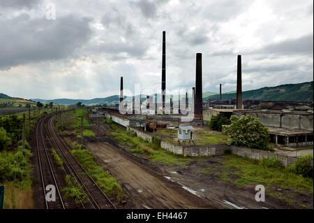 La Roumanie, la Transylvanie, Copsa Mica, la ville est connue comme l'une des plus polluées d'Europe jusqu'aux années Banque D'Images