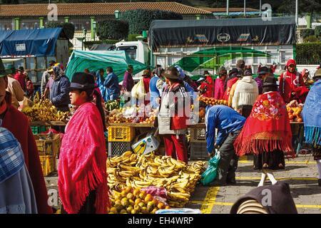 L'Équateur, Cotopaxi, Zumbahua, jour de marché au village de Zumbahua, vue générale de l'essor du marché intérieur Banque D'Images