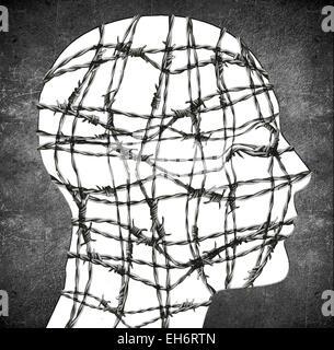 Silhouette de la tête avec du fil de fer barbelé illustration numérique Banque D'Images