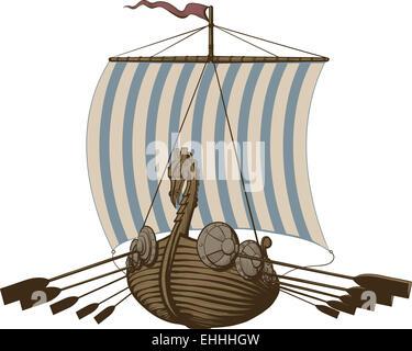 Bataille Viking Ship Banque D'Images