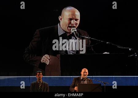 Tel Aviv, Israël. Le 15 mars. Le Ministre israélien de l'économie Naftali Bennett s'attaquer à l'aile droite de Banque D'Images