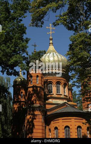 Chapelle Orthodoxe russe dédiée à Sainte Marie Madeleine au cimetière historique de Weimar, en Thuringe, en Allemagne. Banque D'Images