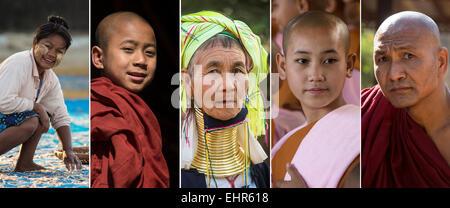 Visages de Myanmar (Birmanie) - Local birmans Banque D'Images
