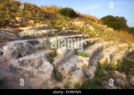 Eloro antique Théâtre grec de Sicile pays Banque D'Images