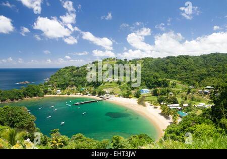 Avis de Parlatuvier Bay sur l'île de Tobago Antilles Banque D'Images