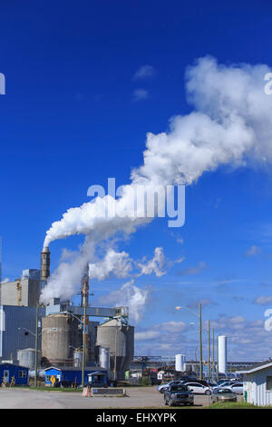 La pollution de l'air par des cheminées à une usine de pâtes et papiers, Terrace Bay, Ontario, Canada Banque D'Images
