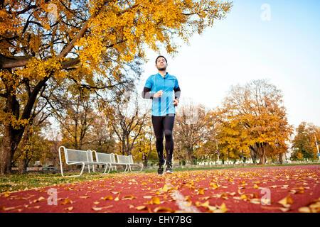 Homme runner jogging in autumn park Banque D'Images