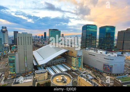 City, Japon, Asie, Kansai, Osaka, ville, gare, Umeda, l'architecture, coloré, panorama, paysage, coucher du soleil, Banque D'Images