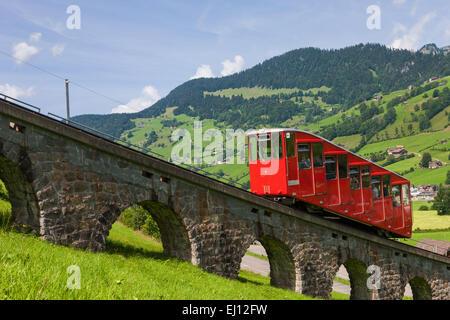 Iltiosbahn, Suisse, Europe, canton de Saint-Gall, Toggenburg, route de montagne, funiculaire, chemin de fer, Banque D'Images