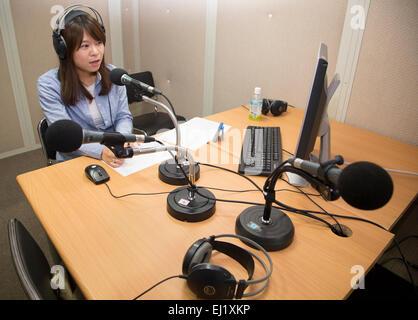 Unification Media Group, Mars 20, 2015: l'Animateur Jang Seul-gi records a l'occasion d'un studio de radio de l'Unification Banque D'Images