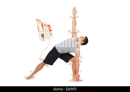 Composite image d'un jeune homme qui s'étend à la main jambe Banque D'Images