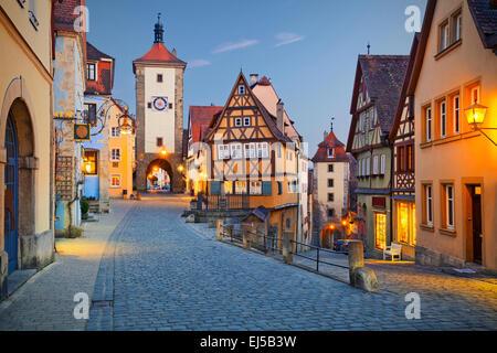 Rothenburg ob der Tauber. Image de la Rothenburg ob der Tauber une ville en Bavière, Allemagne. Banque D'Images