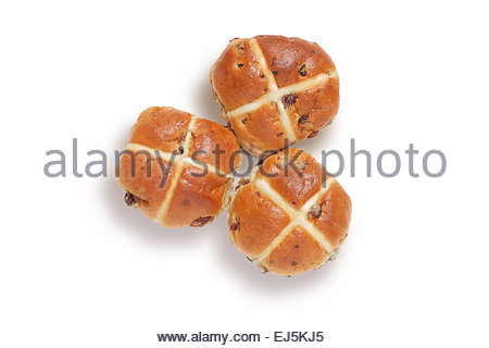 Trois les brioches en plongée des, isolated on white with clipping path Banque D'Images
