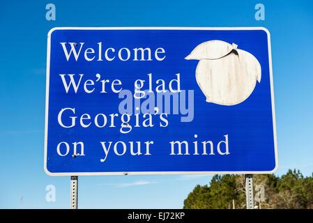 Bienvenue à la Géorgie signe l'État Banque D'Images
