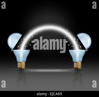 Idée d'équipe concept comme deux ampoules ouvertes une lumière rougeoyante pour connecter l'un à l'autre comme un Banque D'Images