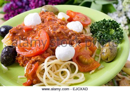 Spaghettis à la bolognaise Banque D'Images