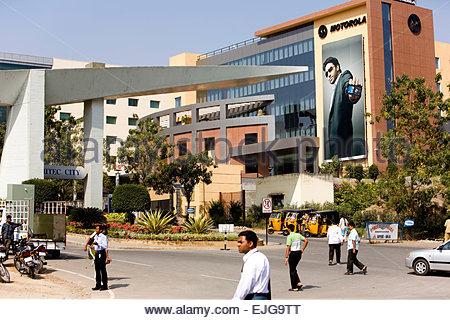 Hyderabad. Hi-Tech city. Bâtiment de Motorola. Banque D'Images