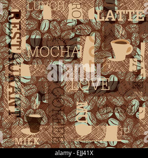 Thème café Seamless Background Banque D'Images